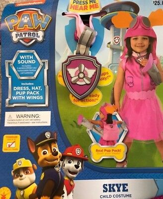 Paw Patrol SKYE Toddler Child Costume w/ Sound + Pup Pack w/ Wings 2T-3T