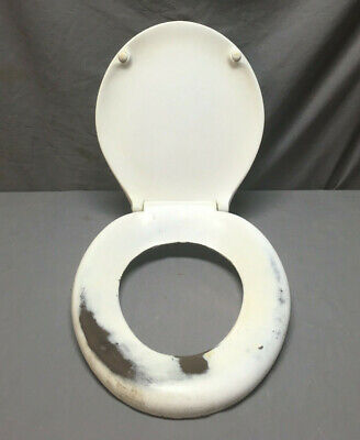 Vintage Plenco Natural Toilet Bowl Seat Cover with Lid Hinge Hardware 399-19L