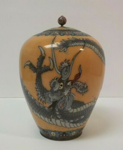 "19th C. Japanese Cloisonne Enamel on Bronze 7"" Tall 3-Toed Dragon Vase"