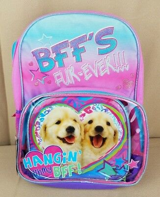 BFF'S FUR-EVER Puppy Dog Large BACKPACK + Lunch Box Best Friend Golden