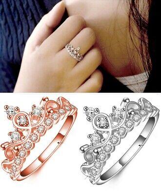r Krone Prinzessin Zirkonia Stein Glitzer Ring Verstellbar (Prinzessin Krone Ringe)