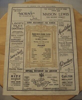 "RARE 1919 Program ""ROYAL OPERA HOUSE""~Covent LONDON UK~FAUST~"