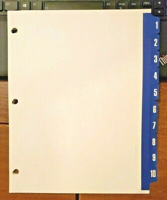 3-ring Binder File Dividers 11 X 9 1 - 10 Labeled Tabs 10 Dividers