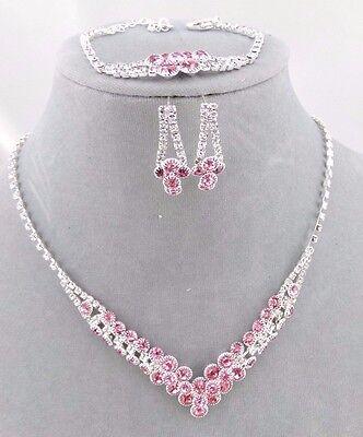 Pink Crystal Rhinestone Necklace Bracelet Earring Set Silver Fashion Jewelry NEW