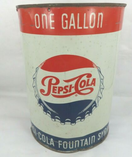 1960s Pepsi Cola Soda Pop One Gallon Fountain Syrup Can bottle cap design CANCO