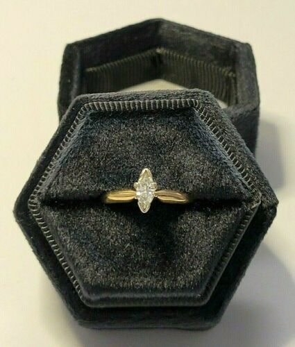 Engagement Ring .25ct Marquise Diamond Solitaire 14K Yellow Gold, size 7, 2.2 g.