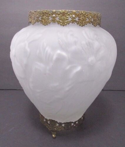 Vintage Phoenix Consolidated Frosted GLASS POPPY VASE BRASS MOUNTS or Tiffin