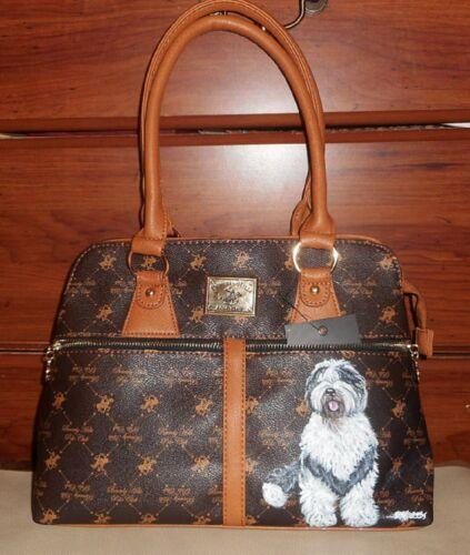 Old English Sheepdog Hand Painted Designer Brown Handbag Shoulder Bag