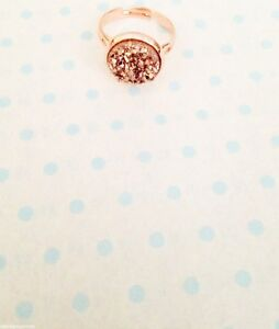 12mm Sparkly Round Druzy Rose Gold Adjustable Ring Size Up To Q