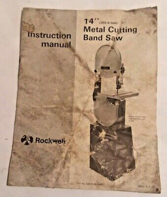 Rockwell 14 Inch Metal Band Saw Instruction Manual 426-03-651-0001