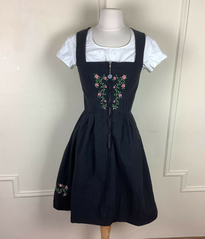 Vintage Johanna Rappel Dirndl Zip Up Octoberfest Black Cotton Pink Flowers  XS