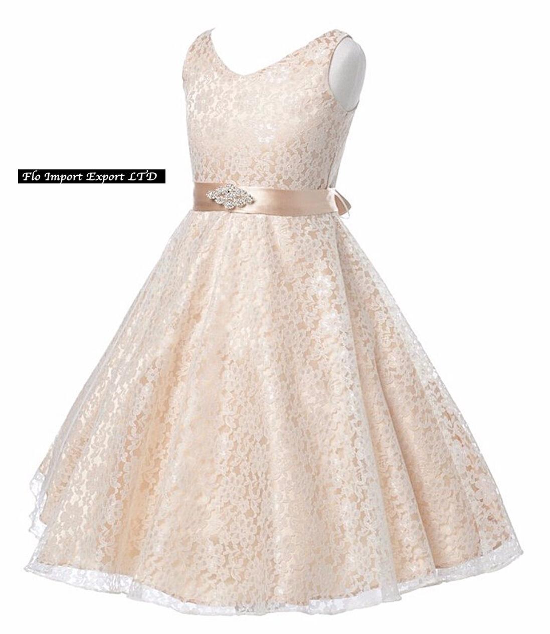 719434c98712 Vestito Bambina Abito Cerimonia Pizzo Elegante Girl Party Princess ...