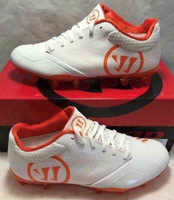Warrior Mens Size 9 Burn 9.0 Lacrosse Lax Cleats White Orange Low - Orange Synthetic Footwear