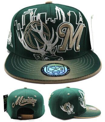 Milwaukee New Leader Antlers Skyline Bucks Colors Green Era Snapback Hat Cap Milwaukee Bucks Colors