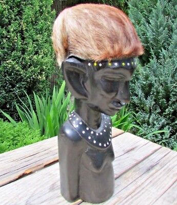 VINTAGE AFRICAN ART WOODEN HAND CARVED STATUE HEAD BUST