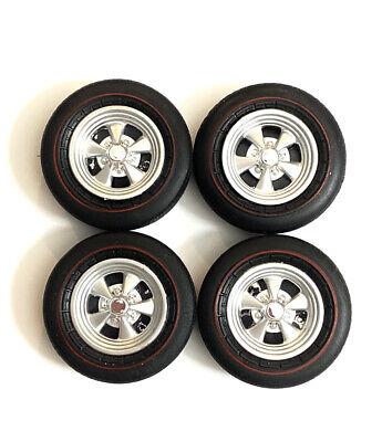 Set Of 4 Auto World Cragar Wheels & Tires 1/18 Scale Custom / Repair Autoworld