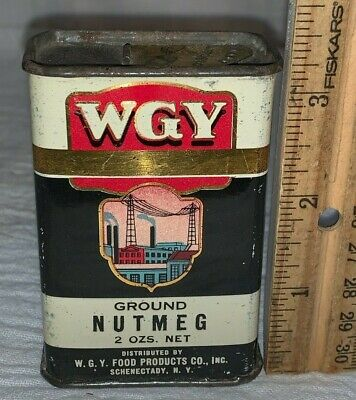ANTIQUE WGY NUTMEG SPICE TIN LITHO CAN SCHENECTADY NY COUNTRY STORE GROCERY OLD