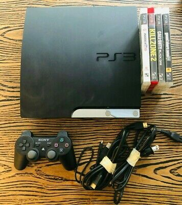 Sony Playstation 3 160GB Slim Console (CECH-2501A) - Controller, Cords & 4 Games