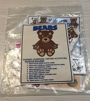 BEARS -THEMED Learning Activities Package - LAMINATED - Teaching supplies