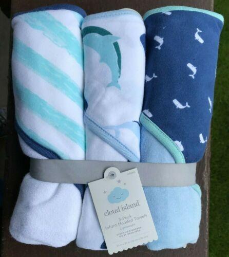 3 Cloud Island Boys Hooded Towels Whale Print Navy Aqua White Cotton *BB