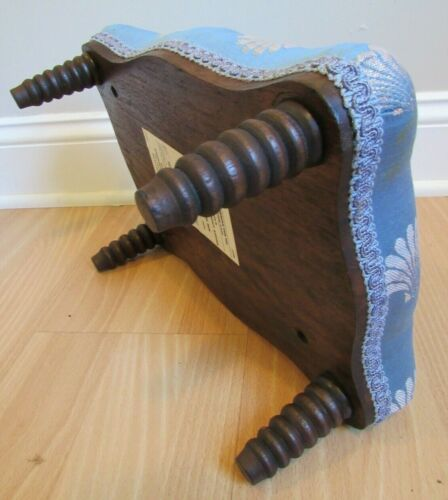 ANTIQUE FOOT STOOL ottoman tapestry small sewing wood VINTAGE floral CLOTH TOP