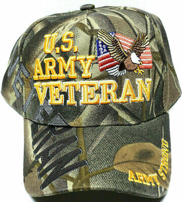 U.S. ARMY VETERAN Cap/Hat w/Flag & Eagle CAMOUFLAGE ARMY STRONG Free Shipping