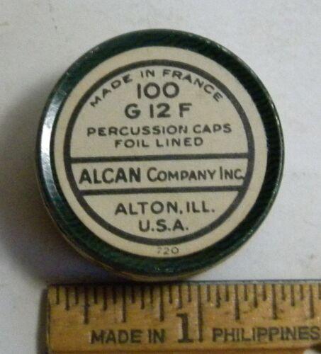 Empty Vintage Alcan Company Percussion Cap Tin Alton, ILL.
