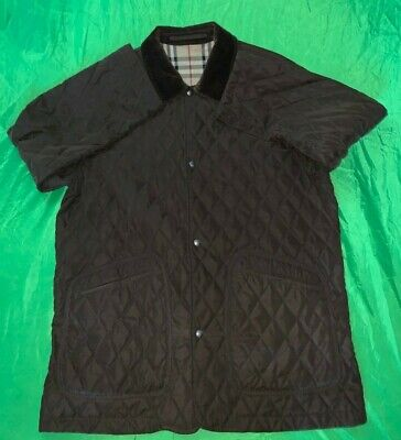 BURBERRY LONDON Quilted Mens Jacket Coat XL Black Nova Check Corduroy Collar