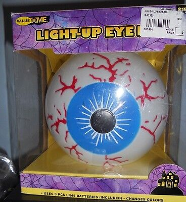 Halloween Lighted Light-Up Color Changing Jumbo Eye Ball Haunted House Prop New