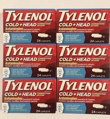 6 TYLENOL- ADULT COLD + HEAD CONGESTION - 24 CAPLETS EACH TOTAL 144  EXP 2/22