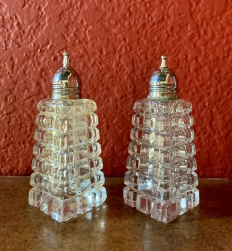 Vintage - Cut Glass - Tower Salt & Pepper Shakers with Silver-plated Tops
