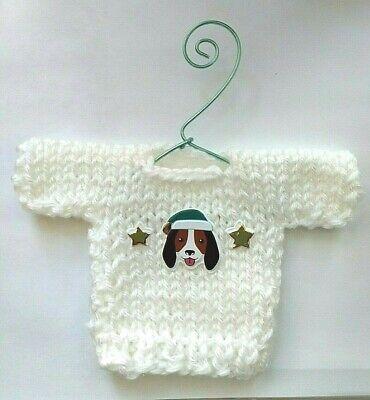 White Hound Dog Themed  MINI Christmas  Sweater  Ornament -