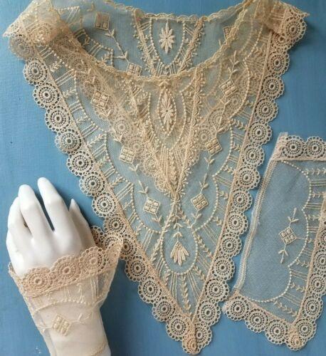 Antique Schiffli Bobble Net Lace Collar &Cuff Set Edwardian Bride Gown Dress Lot