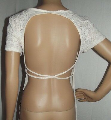 Pink   Needles Large Ivory Lace Open Crisscross Back Shirt Top L Urban Outfitter