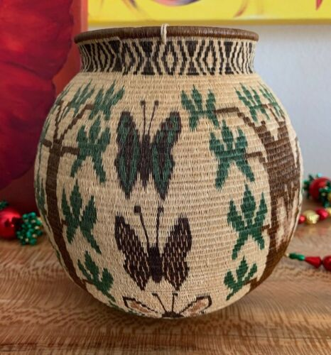 Wounaan Gorgeous Hand Woven Butterfly Basket Panama