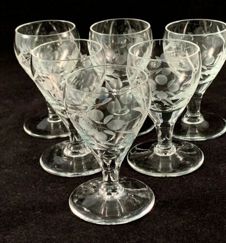 Set of 6 Vintage Etched Crystal 1 oz. Liqueur Glasses, Floral Design