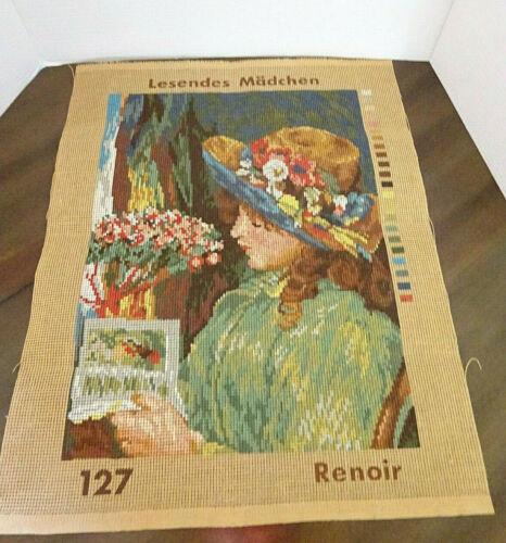 Needlepoint, Renoir, Girl Reading) Vintage No 127 19-1/2 x 16