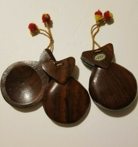 Vintage Hand Carved Wooden Set of Castanets - GILB Mexico - Wood Clappers - Flam