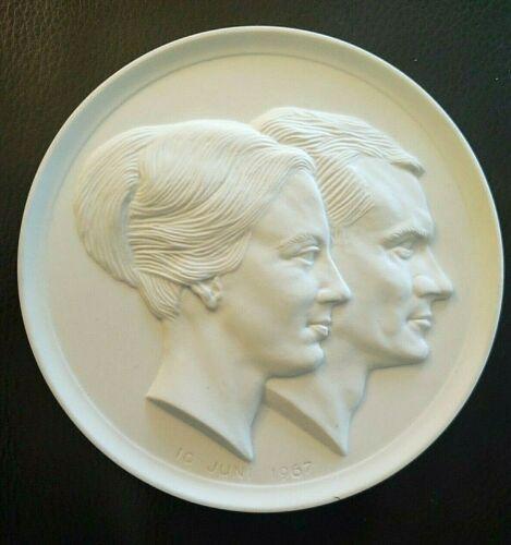 Royal Copenhagen  bisque plaque commemorating the wedding of Margrethe and Henri