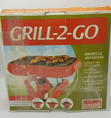 CALOR Grill-2-Go Gas Camping  Portable BBQ, Red, New