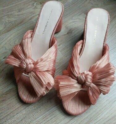 Loeffler Randall Emilia Sandal Mid Heels Penny Pleated Knot Womens 8 Pink