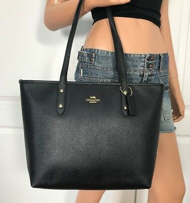 Coach City Zip Tote Black Crossgrain Leather Shoulder Bag F58846 NEW $298