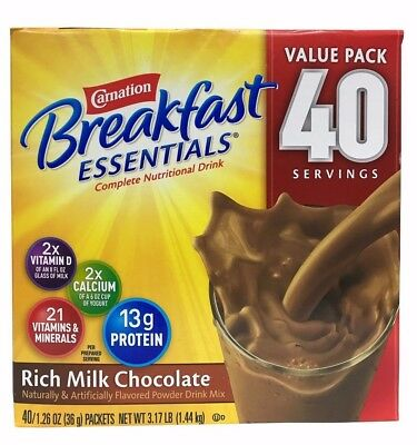 Carnation Breakfast Essentials Rich Milk Chocolate Drink Mix 3.17 LB 40 Servings Chocolate Drink Mix