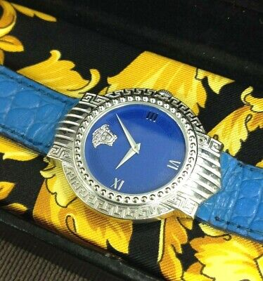 Vintage Gianni Versace Signature Collection White Gold Plated & Blue Watch