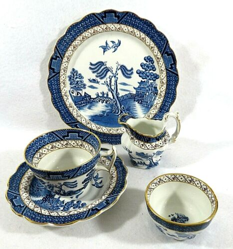 """Booths """"Real Old Willow"""" Cup, Saucer, Luncheon Plate, Mini Open Sugar & Creamer"""