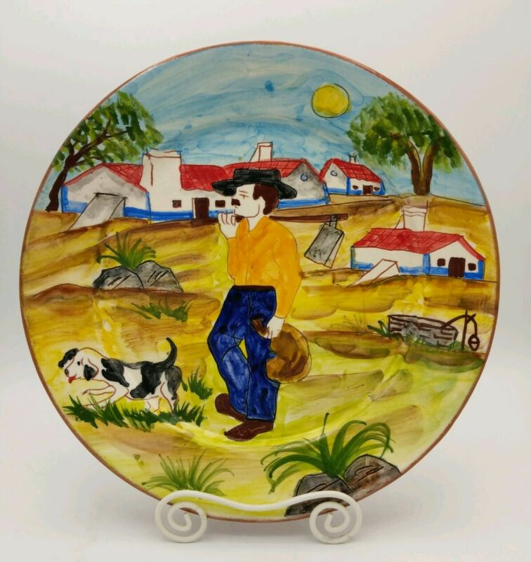 "Portuguese Redware Pottery Hand Painted 10"" Plate Olaria Beatriz Cartaxo Signed"