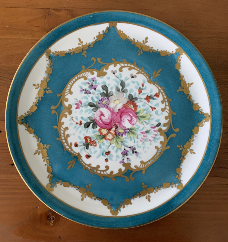 Antique French Porcelain Plate TEAL GILDED FLOWERS