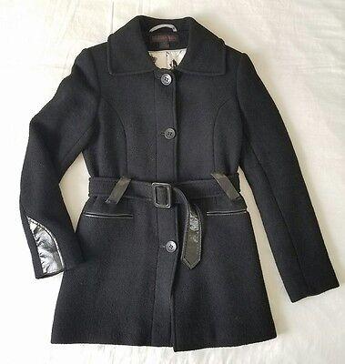 (VIA SPIGA Women's Coat Wool Belted Black Sz 2)