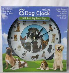 Mark Feldstein 8 Dog Barking Wall Clock with Real Dog Recordings ~ BRAND NEW!