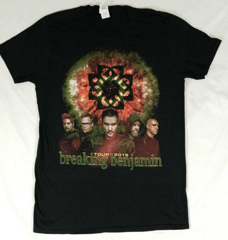 Breaking Benjamin 2019 Concert Tour T-Shirt Black Double Sided Size M Hard Rock